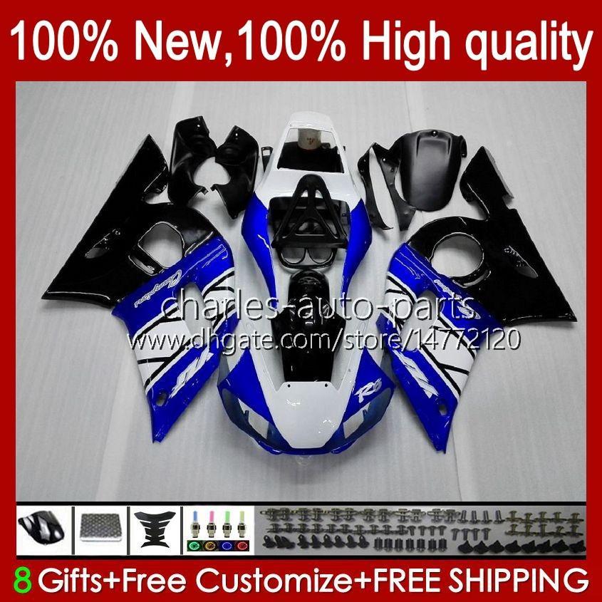 Yamaha Yzf-600 Yzf R6 R 6 600CC Yzfr6 1998 1999 00 01 02 Bodywork 1No.3 YZF 600 CC Cowling YZF-R6 98-02 YZF600 98 99 2000 2001 2002 ABS Fairing Kit Blue White Blk