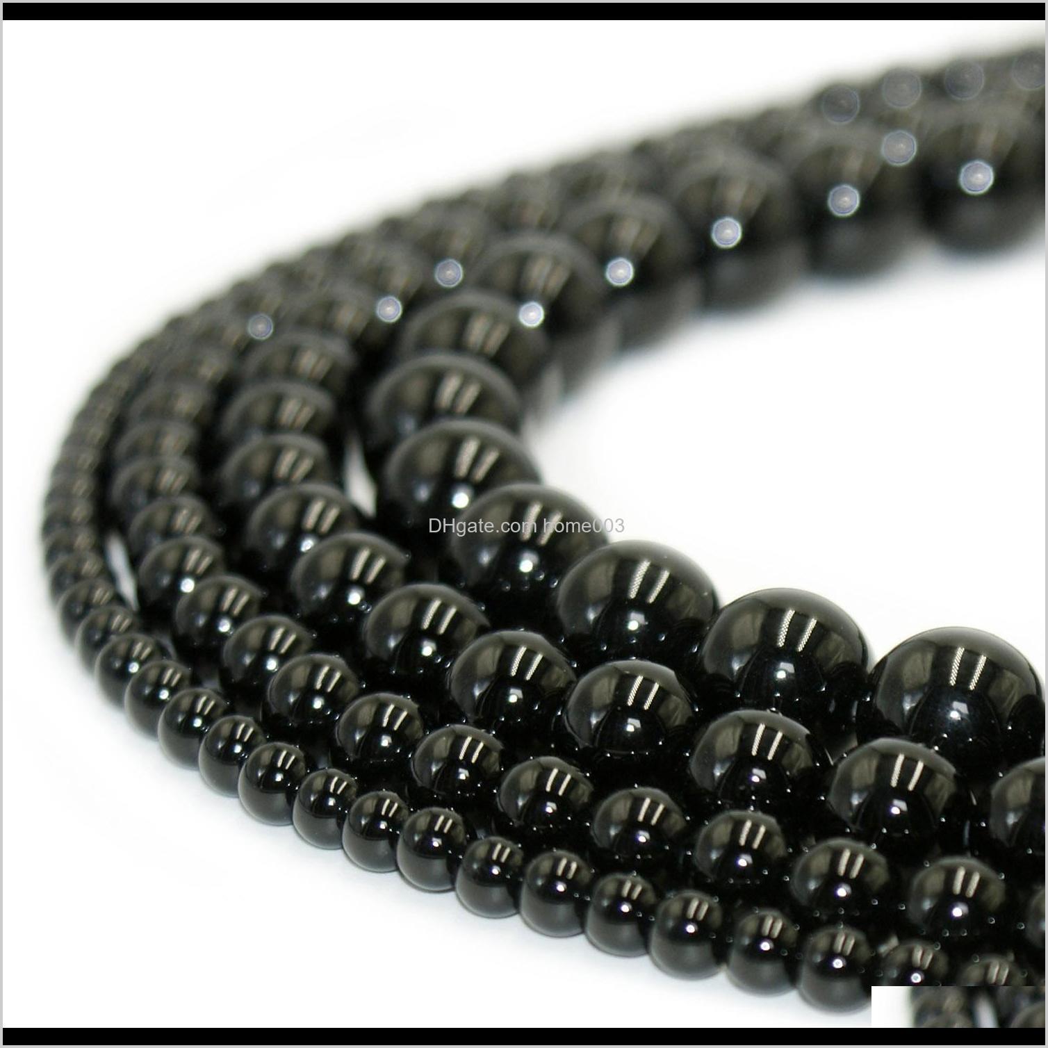 Drop livraison 2021 Pierre naturelle 100percent Noir Noir Obsidian Ronde Gemstone Perles en vrac pour bricolage Bracelet Bijoux Faire 1 brin 15 pouces 4-10