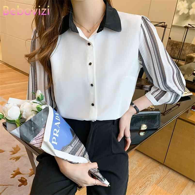 S-XXL Mode Sommer Casual White Drei Viertel Button Up Tops und Hemden für Frauen Büro Dame Arbeitskleidung 210603