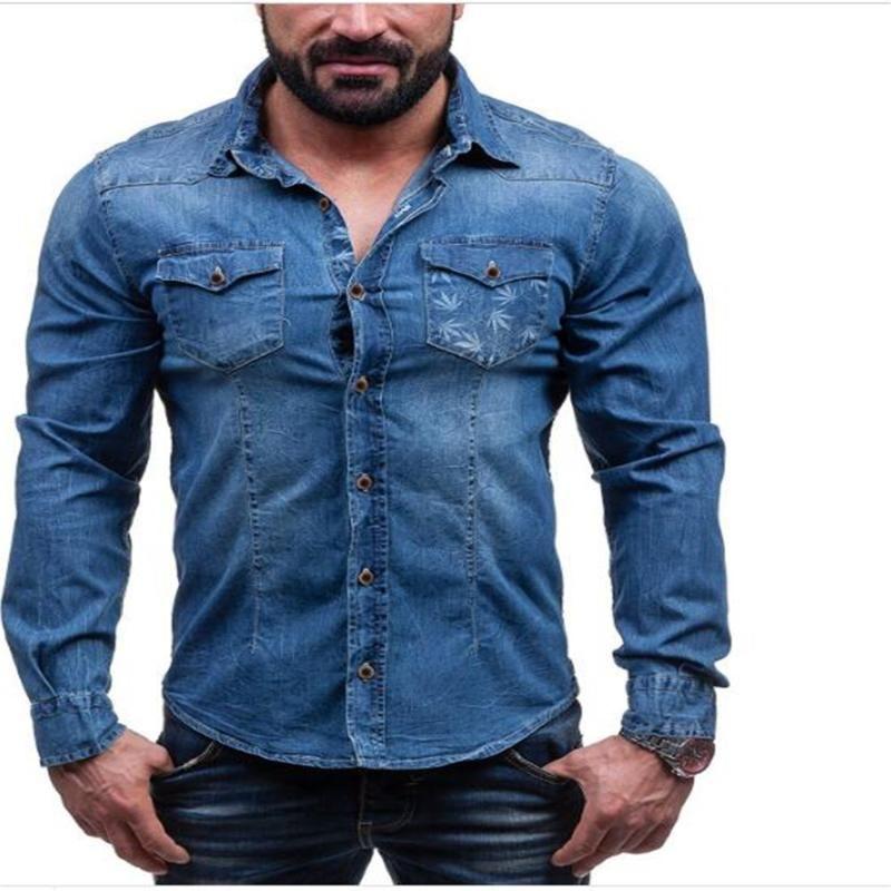 패션 남자 코 튼 옷깃 인쇄 단일 브레스트 포켓 긴 소매 카우보이 셔츠 streetwear 빈티지 캐주얼 슬림 블라우스 M-3XL 남자 셔츠