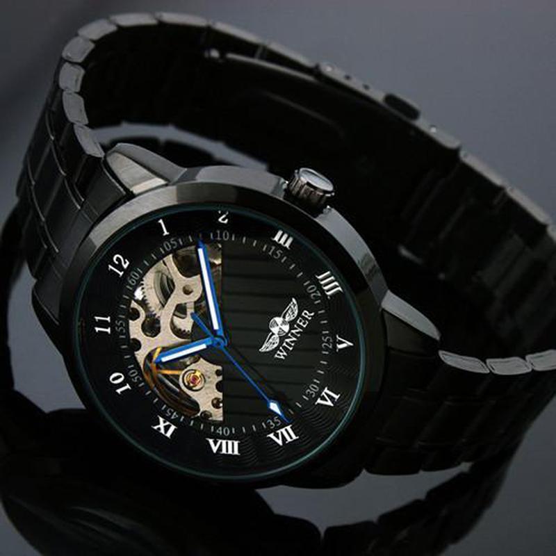 2021勝者メンズフルブラックスチールウォッチスケルトンメカニカルマンドレス男性のカジュアルな腕時計