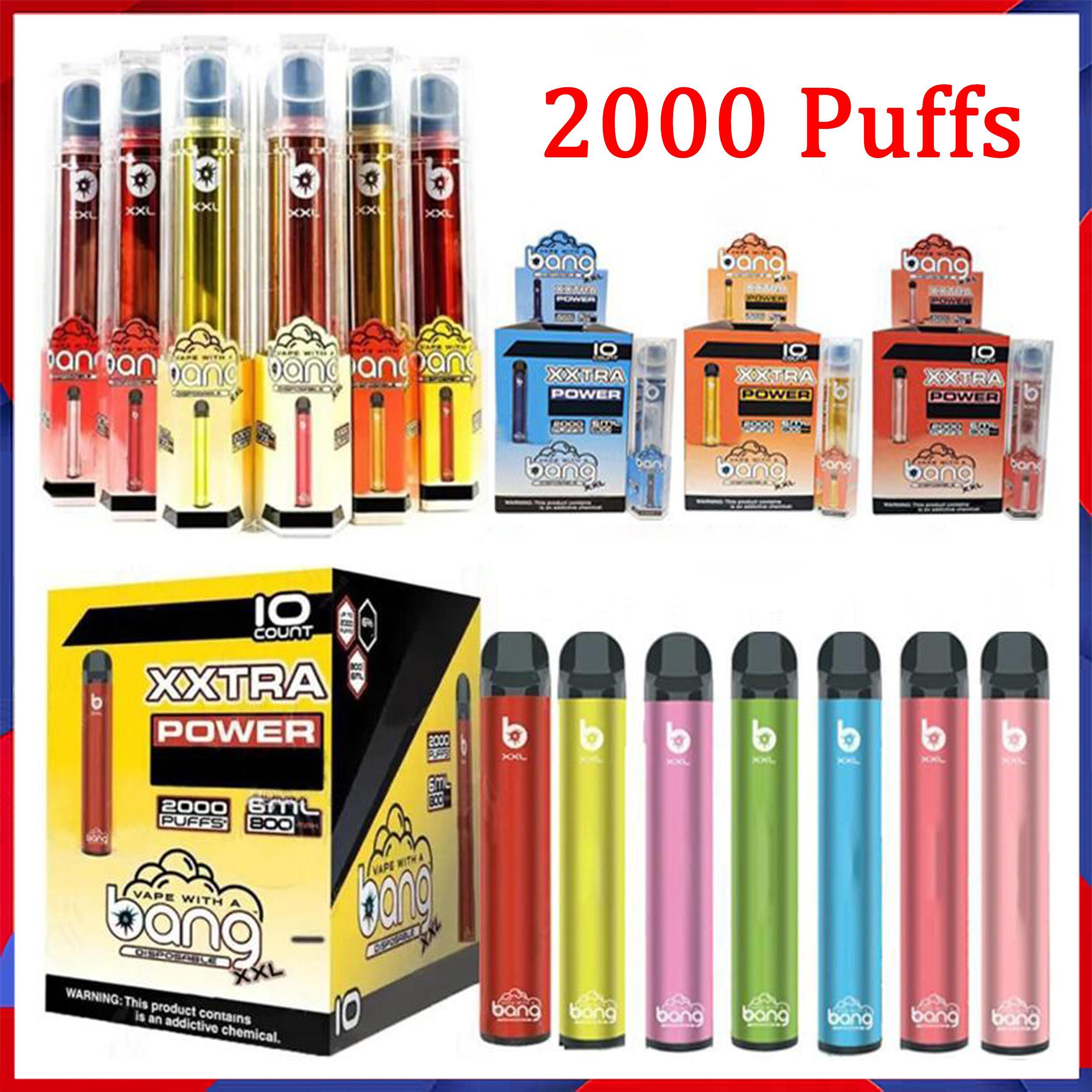 Nuovo dispositivo di sigaretta monouso Bang XXL 800mAh Batteria di accensione pre-riempita 6ml POD POD 2000 BUFFS XXTRA Kit Penna VAPA 20 colori