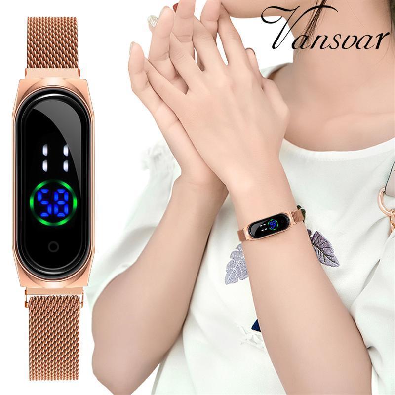 Wristwatches Ladies Watches Digital Led Watch Electronic Display Bracelet Luxury Eesh Stainless Steel Strap Quartz