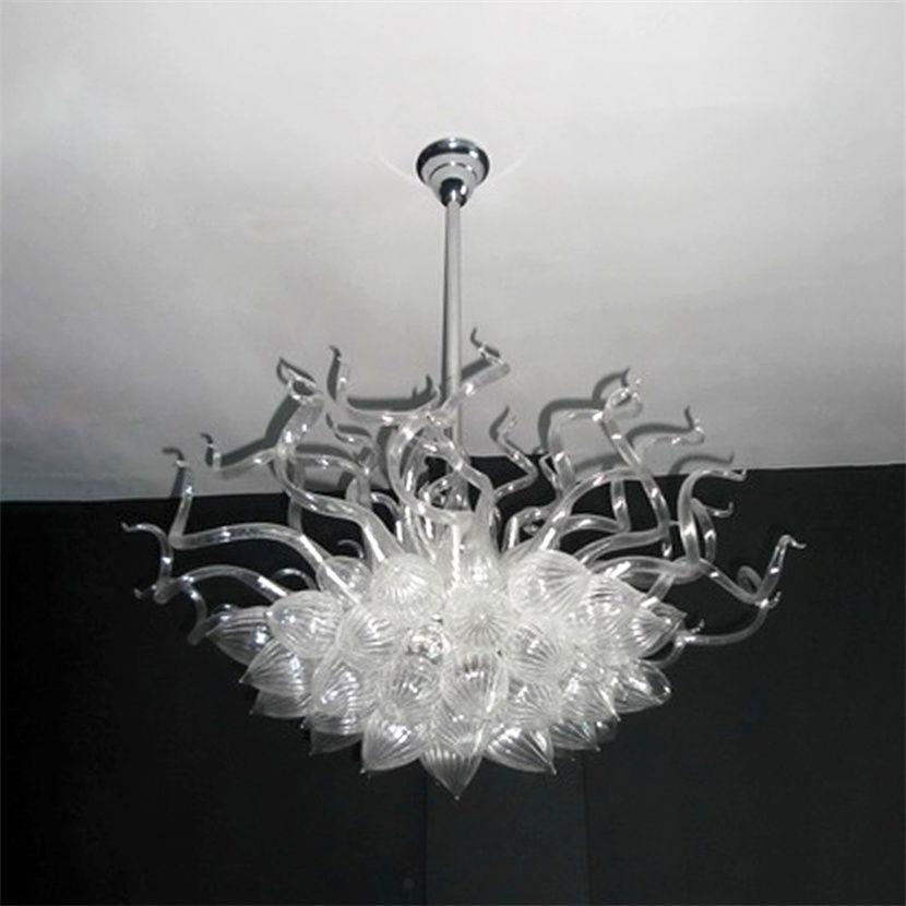 현대 서스펜션 샹들리에 화이트 컬러 무라노 유리 펜 던 트 램프 크리스탈 샹들리에와 LED 전구 조명 빌라 홈 거실 장식 32x32 인치