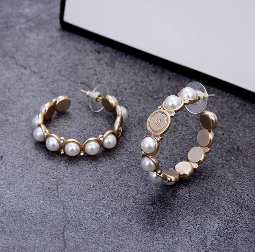 Fashion brand Have stamp pearl circle hoop earrings Stud brass earring aretes orecchini for women party wedding lovers gift jewelry engagement with box