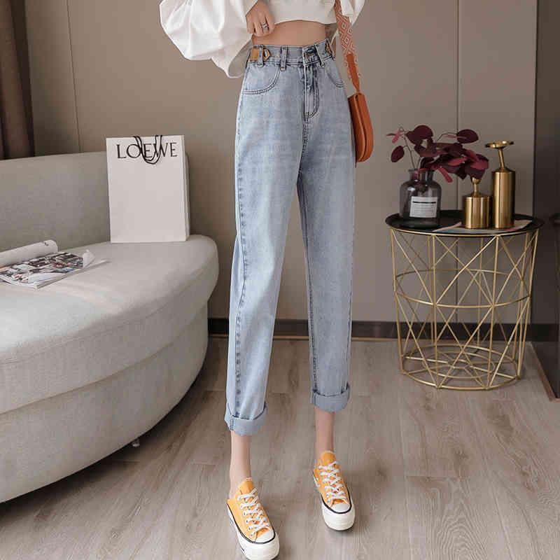 Primavera New Elastic Waist Straight Gamle Jeans femminile nove punti Pantaloni anziani JXMYY 210412