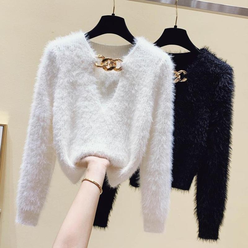 Herbst Winter gestrickte Mohair Stretch Pullover Tops Frauen Elegante Aushöhlen Kette V-Ausschnitt Langarm Bottoming Frauenpullover