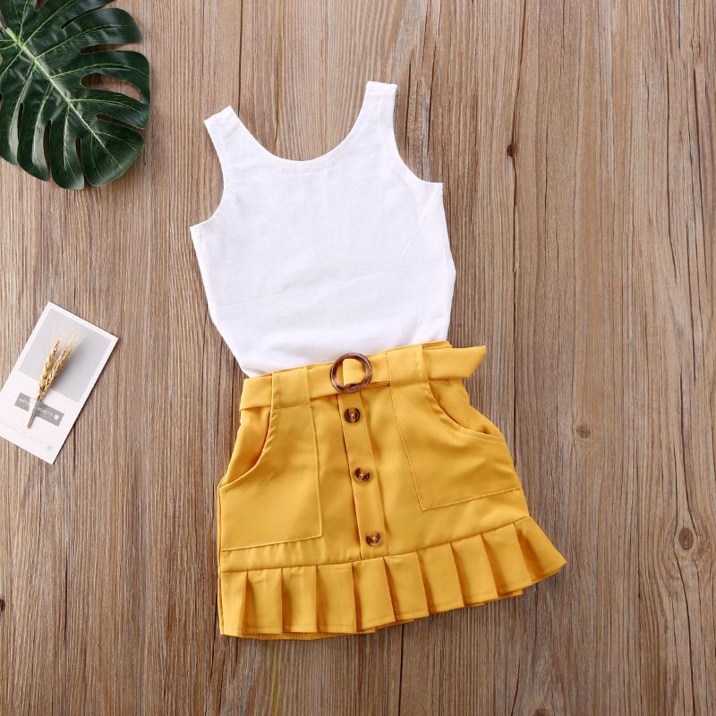Kleinkind Kinder Baby Kleidung Sets Sleeveless Solide Weste Strampler Gelb Gelb Plissee Rock Sommer Outfit Set Kleidung