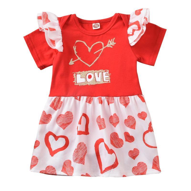 Rompers Opperiaya 발렌타인 데이 아기 소녀 짧은 소매 Bodysuit 드레스 사랑 편지 인쇄 로터스 리프 장식 여름 의류