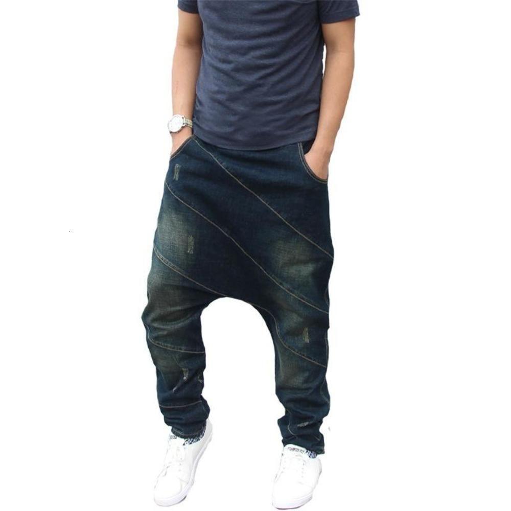 Männer Hip Hop Harem Jeans Baumwolle Lose Baggy Denim Hosen Elasitc Taille Streifen Patchwork Streetwear Joggers Casual Hose