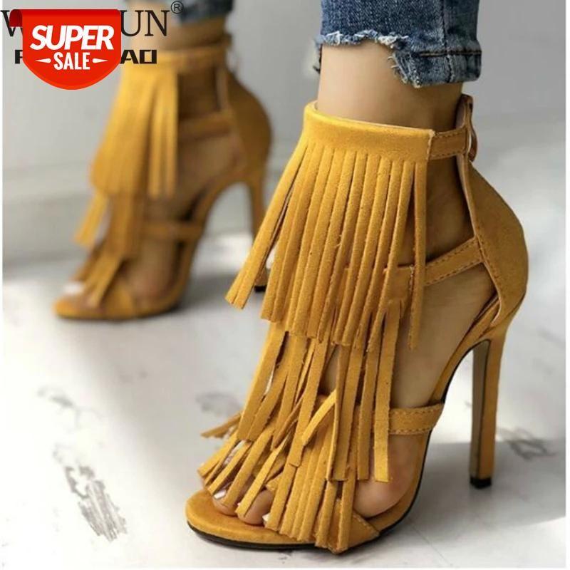 WDHKUN Fashion Big Size 43 Thin Heeled Sandals Stiletto Summer Fringe Tassels Sexy Party Gladiator Women's Shoes Woman #bZ4a