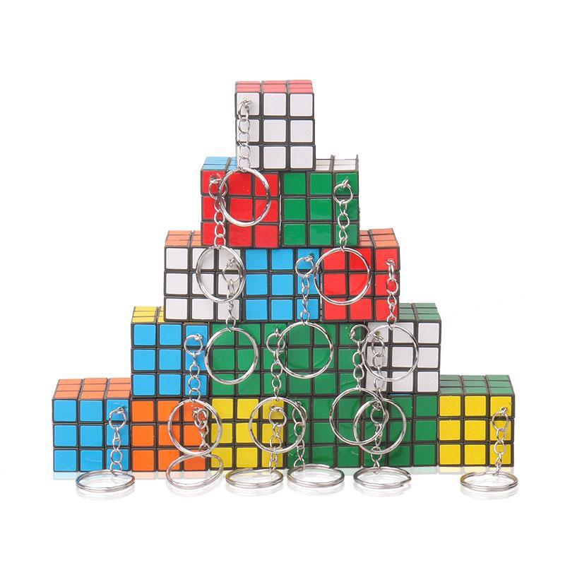 키 체인 마법의 큐브와 함께 3cm 미니 퍼즐 큐브 장난감 어린이 퍼즐 게임 정보 교육 완구