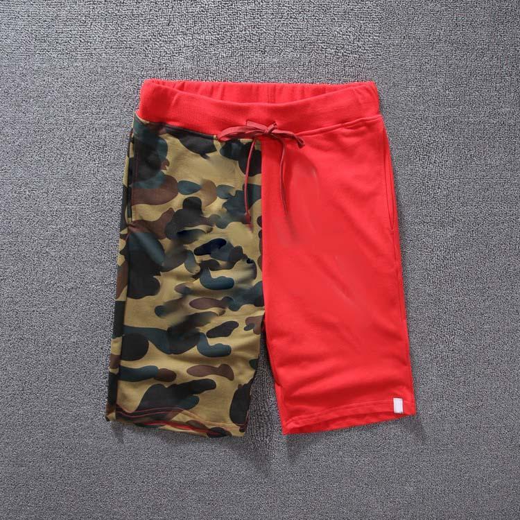 Erkek Pantolon Moda Baskı Kamuflaj Renk Dikiş Genç Yaz Şort Klasik Streetwear Erkek Sweatpants