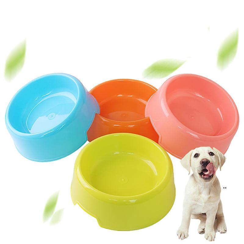 Pure Color Portable Pet Cat Dog Round Plastics Bowls Easy Clean Чистый щенок Пищевая плита для воды для подачи воды для питья питьевые питьевые животные поставки FWD8678