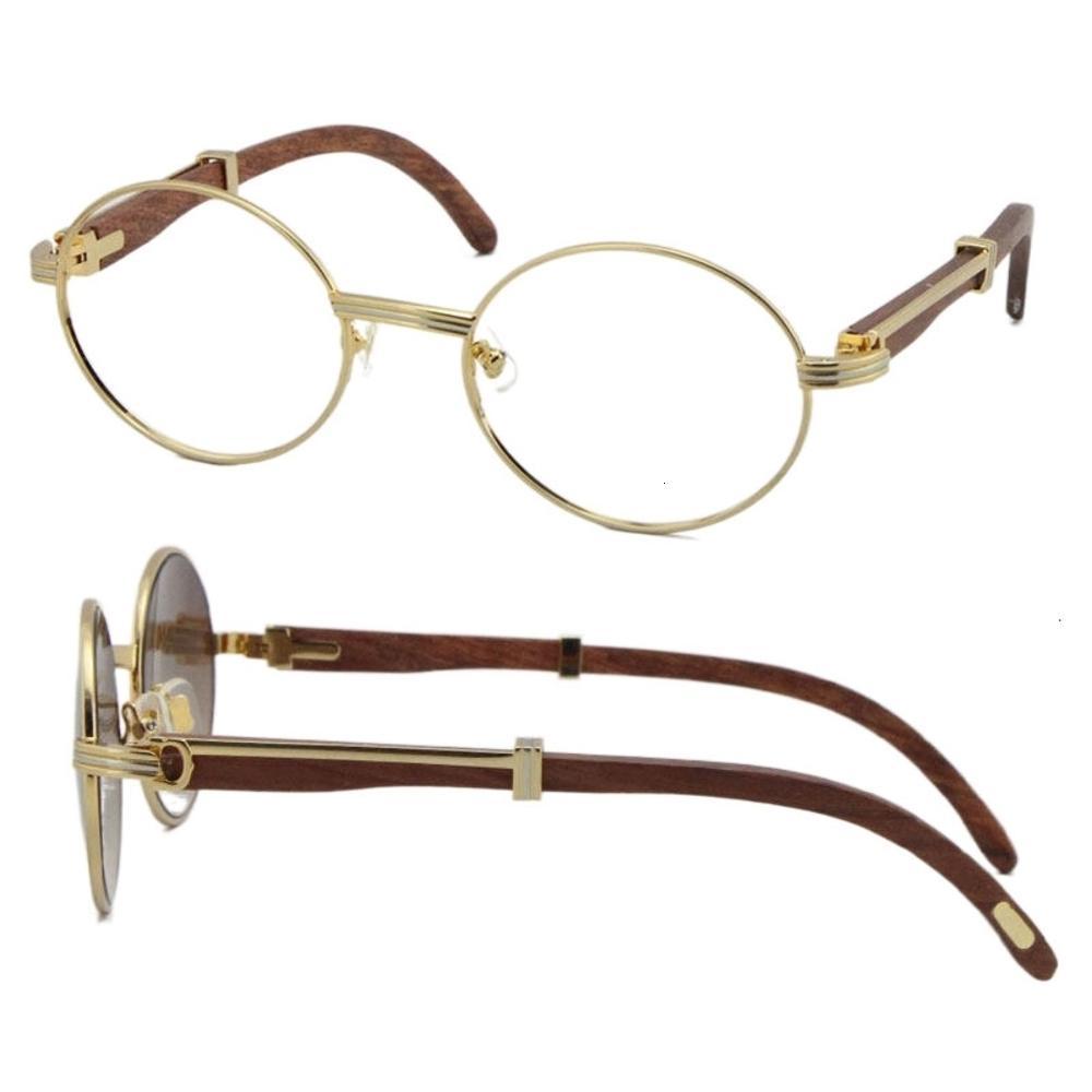 Wholesale Wood glasses frames 7550178 Round Metal Eyeglasses eyeglass female women silver gold frame C Decoration Eyewear Size:55-22-135mm