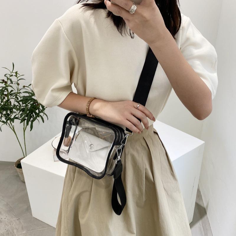 Сумки на плечо Мода Jelly PVC Элегантный Crossbody Crosse 2021 Прозрачный дизайн Женщины Black Сумка Роскошный Прозрачный Mujer SAC Femalee