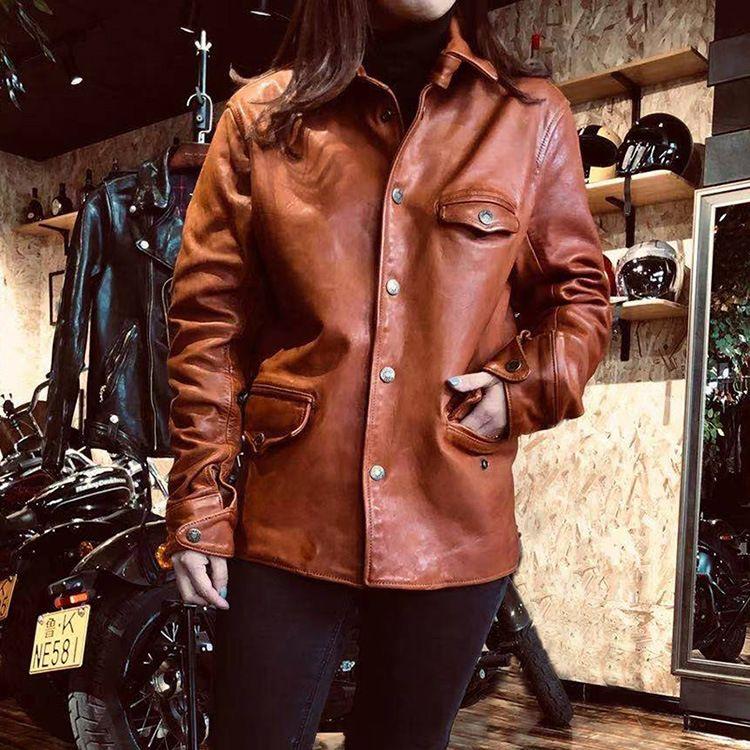 Oil wax vegetable tanned horsehide leather coat Retro small brakeman women or man locomotive Jacket