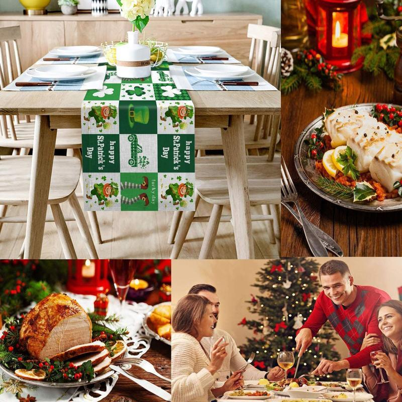 سانت باتريك يوم طاولة الطعام المطبوعة عداء للعطلات العائلية الأطراف ديكور القماش الأغطية المتاح
