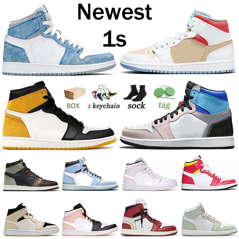 Nike Air Jordan Retro 1 4 With Box scarpe da basket da donna da uomo Volt Gold Starfish University Blue Mid Crimson Tint sneakers scarpe da ginnastica sportive taglia 47