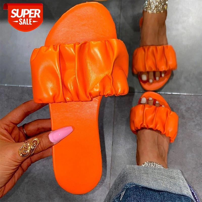 Women Sandals 2021 New Summer Shoes Flat Plus Size Pleated Sandalias Mujer Flip Flops Casual Beach Slippers Female #Ud0L