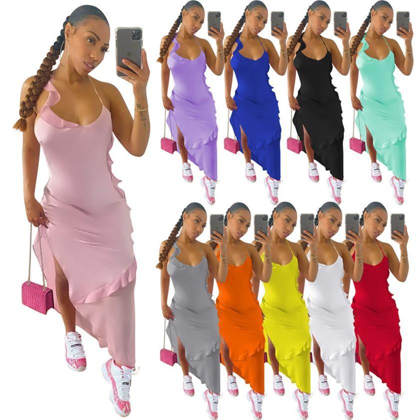 Abiti da partito sexy Donne Donne Maxi Dress Abito asimmetrico Club Gonna Solido Colore Solido Backless Clubwear Bianco Ruffles Slim Gonne Split Nightclub Abbigliamento 10Colors 2XL 5141