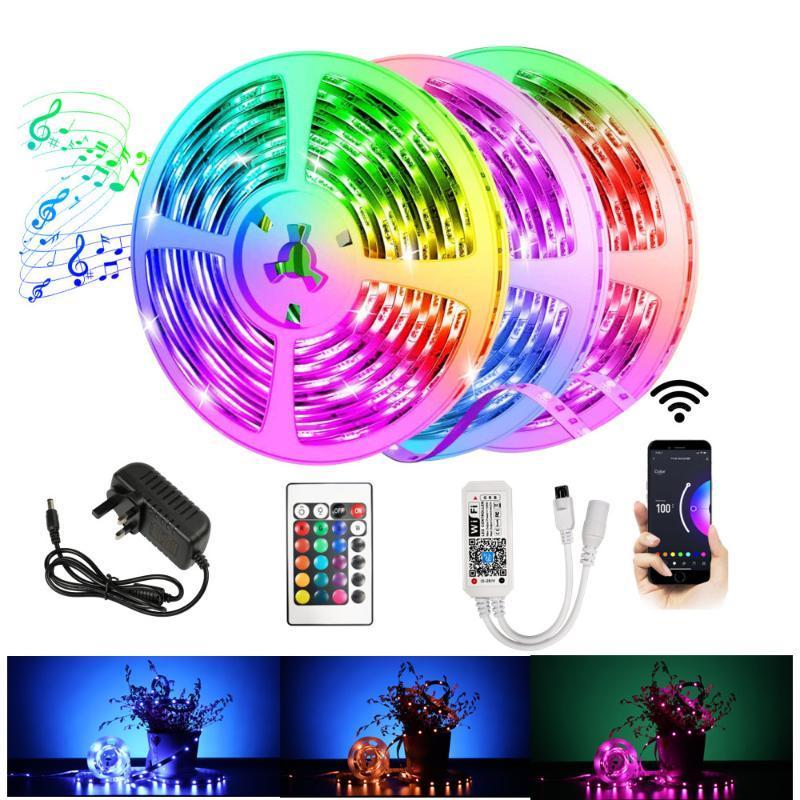 블루투스 RGB SMD 2835 야외 방수 유연한 탄소 벨트 다이오드 DC12V 5m 10m 와이파이 LED 스트립
