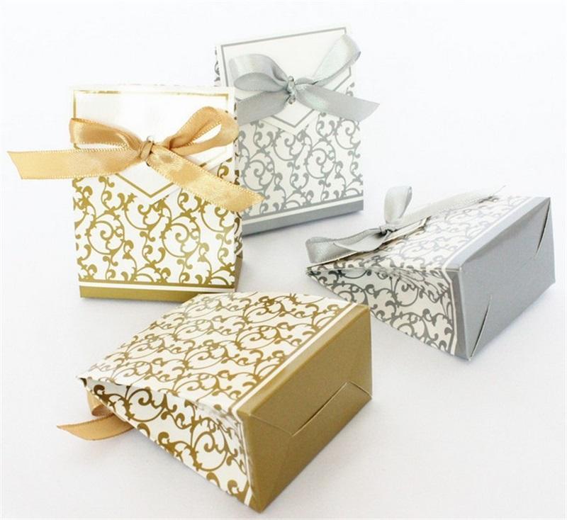 10 stücke Kreative Golden Silber Band Hochzeit Favors Party Wrap Geschenke Papier Box Cookie Candy Geschenk Taschen Ereignis Lieferungen 651 R2