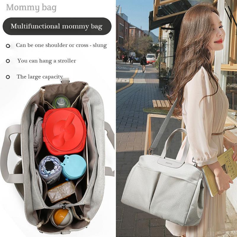 패션 엄마 가방 나일론과 어깨 핸드 헬드 대용량 대용량 여행 엄마와 아기 유모차 기저귀 가방