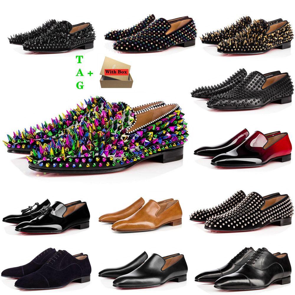 Мужские красные днища обувь дизайнеры с низкой плоской заклепками вышивка мужчина бизнес банкетное платье обувь роскошь патент замшевый стилист шипы натуральные кожаные кроссовки