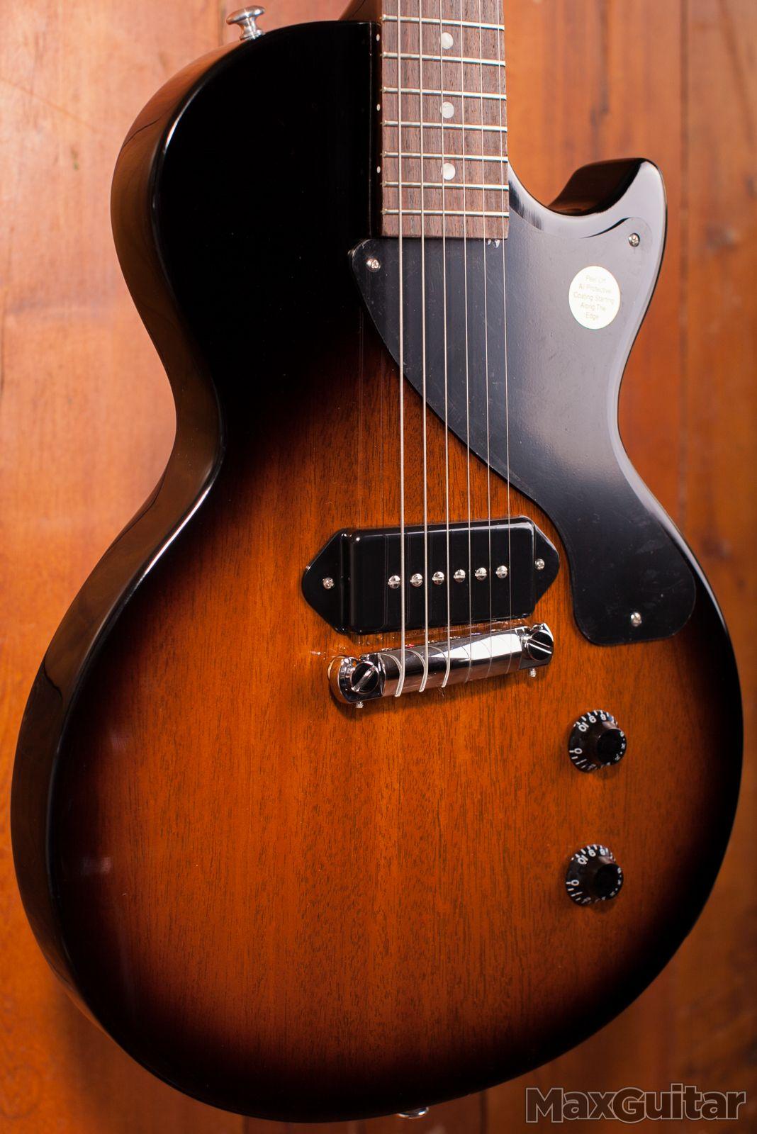 Custom Tabak Sunburst Junior Electric Guitar Single Cutaway, Black P90 Pickup, Vintage Tuner