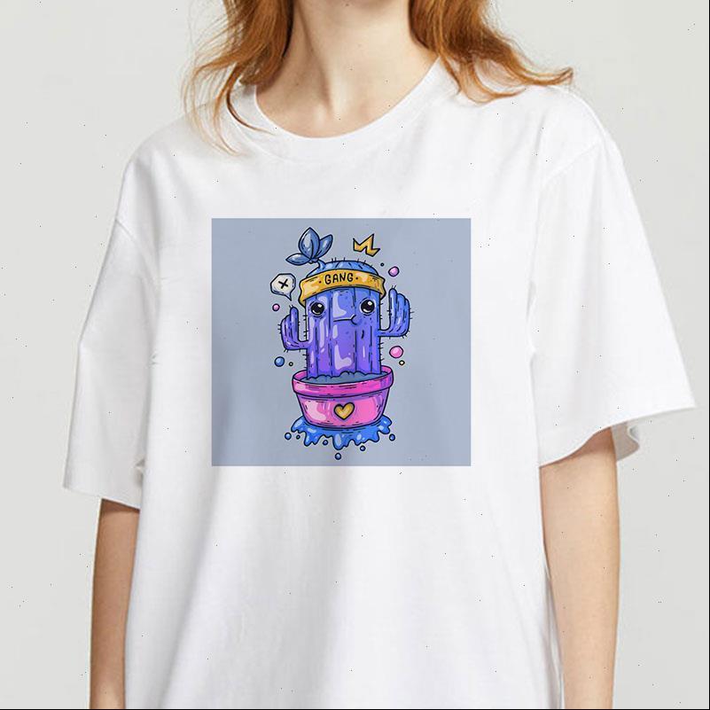 Lustiger Kaktus-Druck-Mode-T-Shirt-Grafik-Kleidung Camisas Mujer