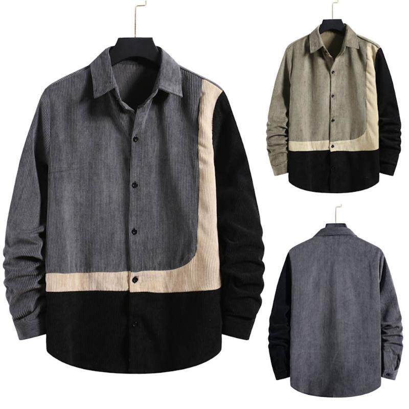 셔츠 남성 가을 코듀로이 셔츠 버튼 패치 워크 탑 긴 소매 대형 캐주얼 캐미 사 파라 Hombre Sep5