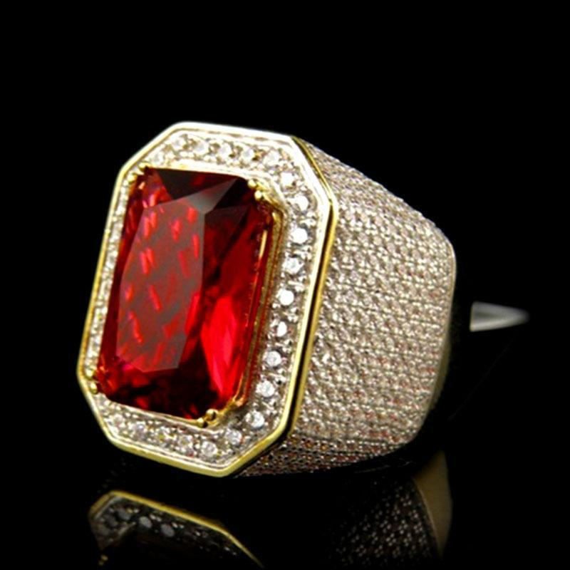 Hermosa hembra masculina gran anillo de compromiso rojo rojo Joyería de oro amarillo Zircon piedra vintage anillos de boda para hombres mujeres