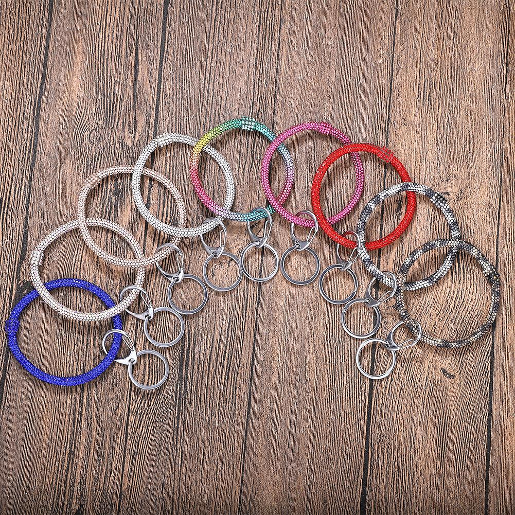 Bliing Bling Girl Diamond Bracelet Keychain Party Wedding Gift Bangle Keychain Rhinestone Wristlet Circle Wrist Strap Fashion Women GWF6349