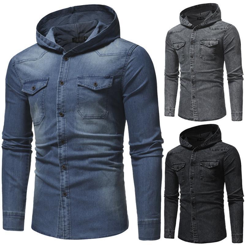 봄 워시 데님 셔츠 남성 긴 소매 패션 후드 청바지 캐주얼 슬림 피트 남자 셔츠