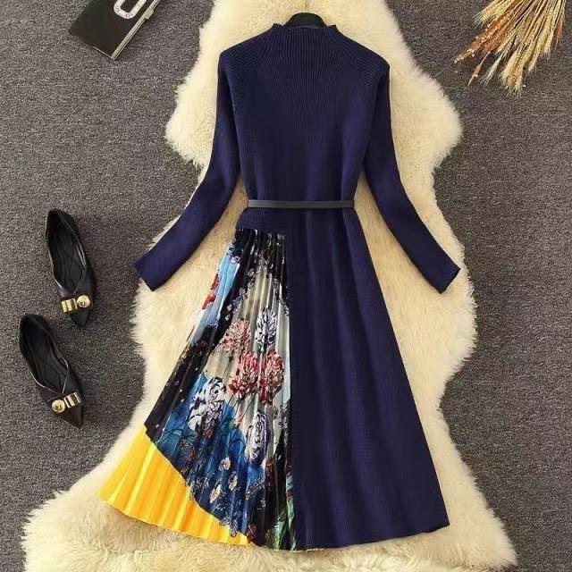 Merchall 2021 Winter Mode Designer Kleid Frühling Herbst Frauen Schärpen Stricken Langarm Patchwork Falten Kleider Casual