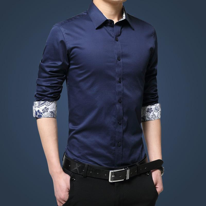 남성 사회 셔츠 긴 소매 셔츠 남자 가을 패션 고품질 단색 비 철 슬림 맞는 비즈니스 남성 의류 캐주얼