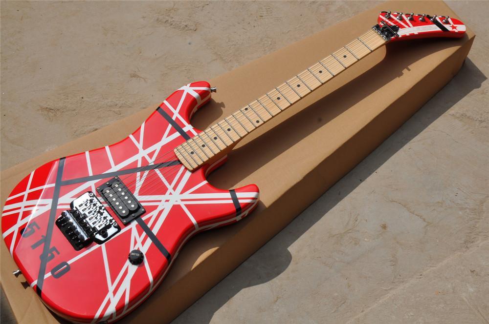 Kırmızı ve beyaz şerit vücut elektro gitar, akçaağaç boyun, krom donanım, özelleştirilmiş hizmetler sağlamak