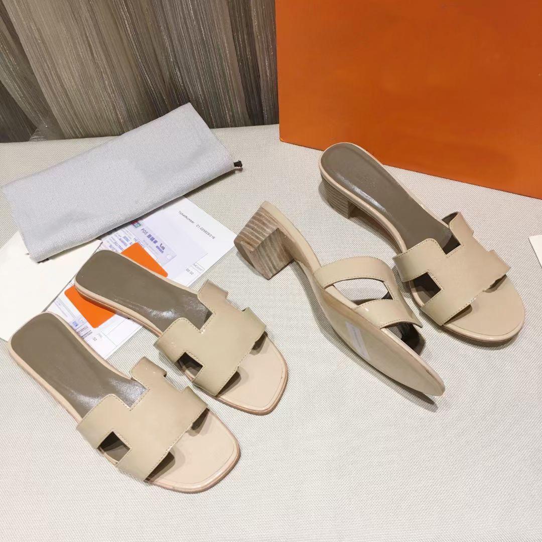 Designer oran sandália mulheres salto alto saltos plana de couro real preto rosa 22 cores verão moda praia sexy sapatos tamanho grande com caixa 278