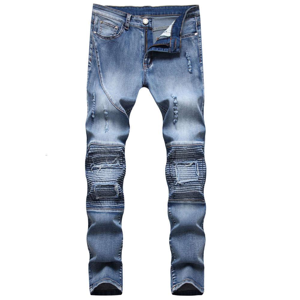 2021 Neue Herren Jeans Hohe Qualität Skinny Blue Jeans Hosen für Mann Slimfit Ripped Denim Pants 38 42