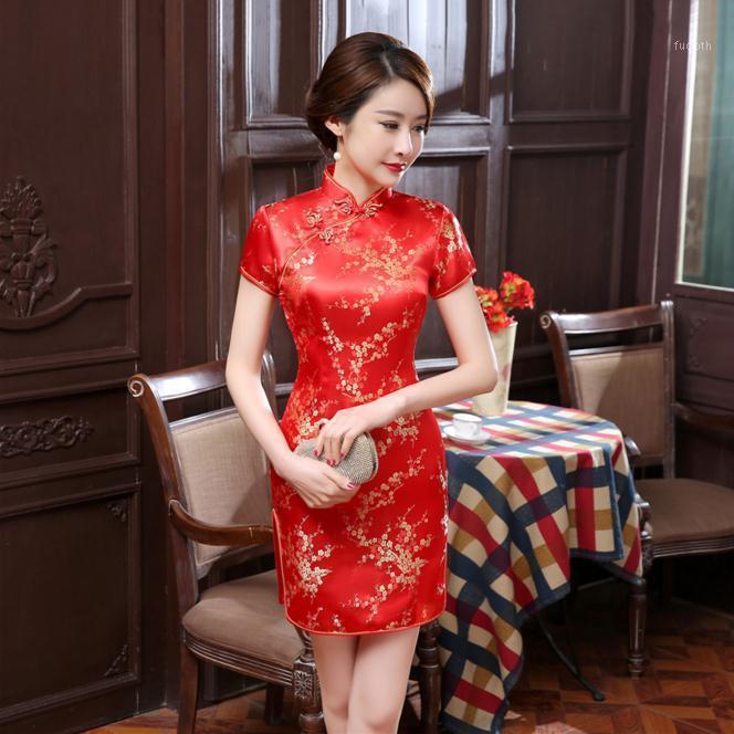 새로운 붉은 중국 여성 전통 드레스 실크 새틴 cheongsam 미니 섹시 qipao 꽃 웨딩 드레스 오버 사이즈 4XL 5xl 6xl NC0261