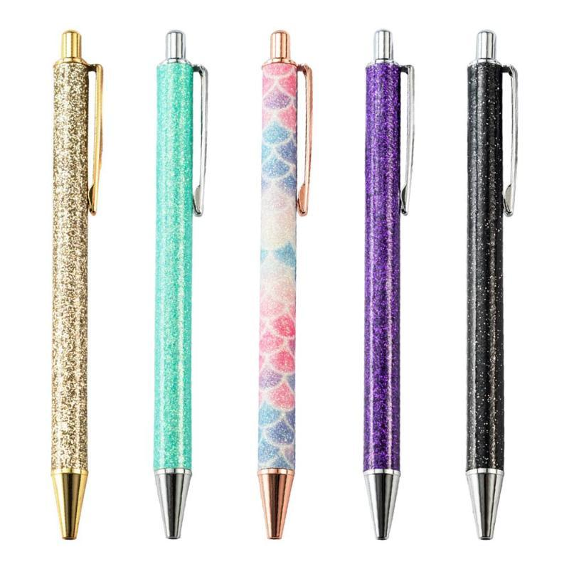 Ballpoint Pens Crystal Pencil Pen Creative 1.0mm Luxury Press Flow Oil Gold Metal Ball Powder Quicksand Design Kids Stationery