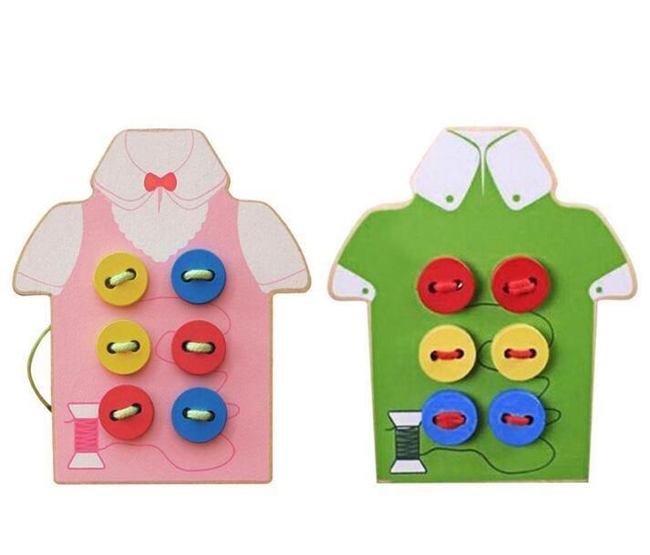Çocuklar Montessori Eğitici Oyuncaklar Çocuk Boncuk Bağcık Kurulu Ahşap Oyuncaklar Toddler Düğmeleri Dikmek İlk Eğitim Öğretim Yardımları