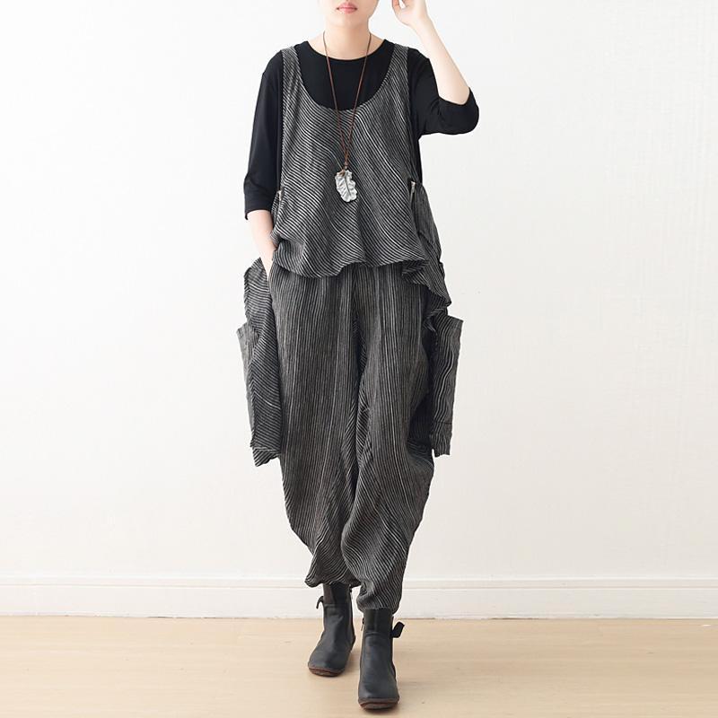 Camiseta para mujer Johnature Mujeres Rayas Rodado Camisetas Bolsillos sin mangas de alta calidad Paños de moda 2021 Juego de dos piezas de otoño