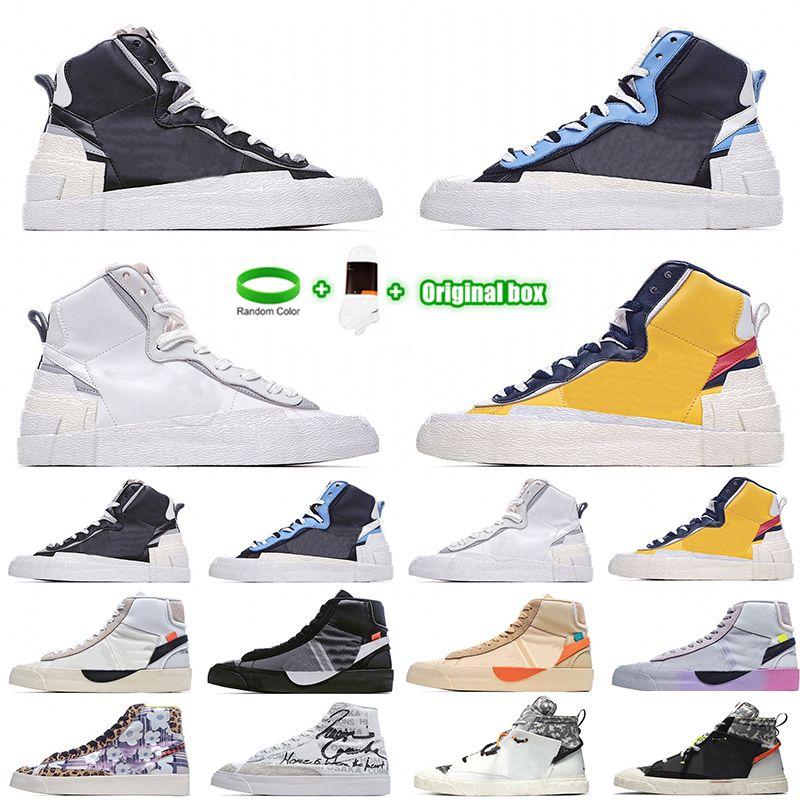 [Bracelet + Socks + Original Box] Sacai X Nike Blazer Mid Deconstructed Double Hook Catwalk Co-branded Trailblazer High-Top Casual Shoes Off White x Blazer Mid OW Sneakers