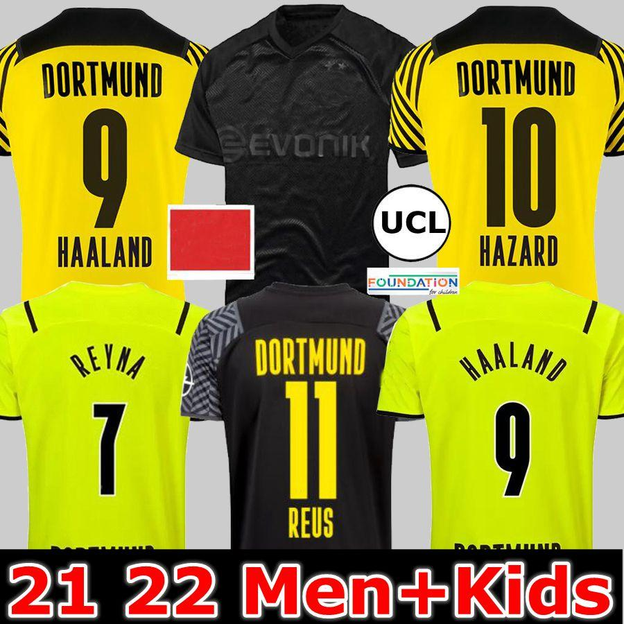 21 22 Dortmund Fußballtrikot Borussia HAALAND KAMARA 2021 2022 schwarzes Fußballtrikot REUS BELLINGHAM HUMMELS REYNA BRANDT 4. Herren + Kindertrikot maillot de foot