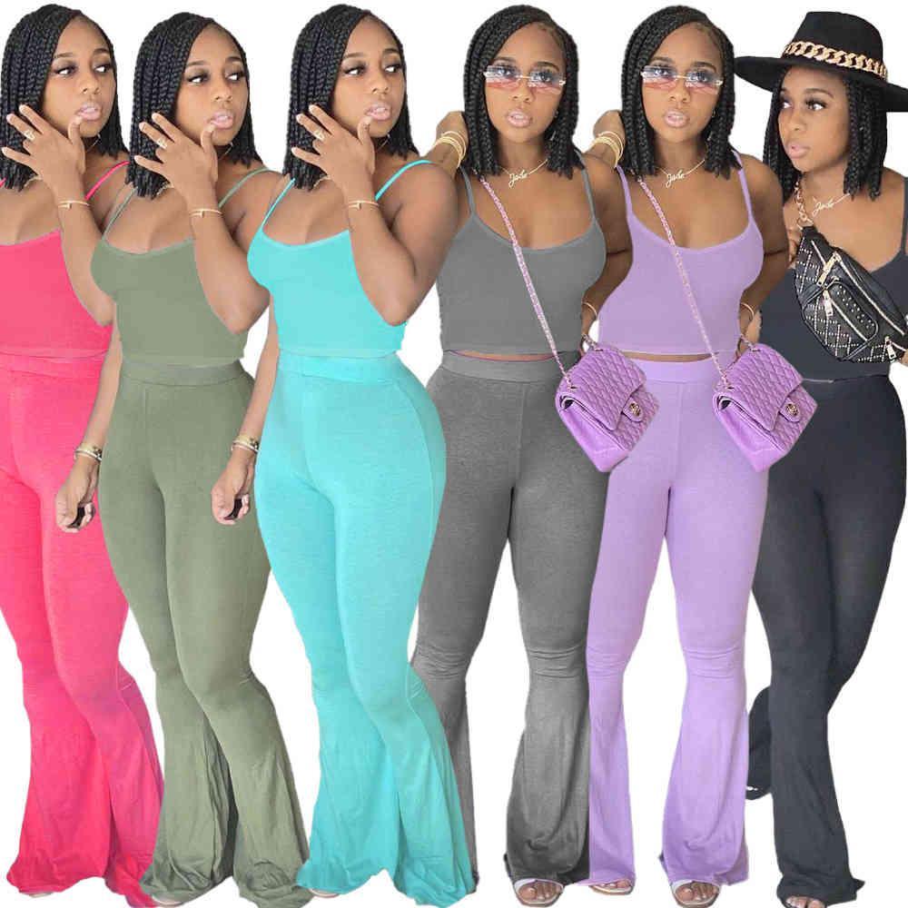 Frauen Mode Designer Kleidung Massivfarbe Ärmellose Hosenträger ausgebaute Hosen Freizeitanzug Damen Trainingsanzüge Zwei Stücke Hosen