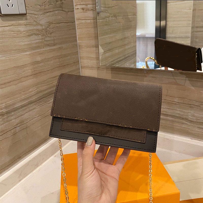 Messenger Sacs Chaîne Paquet Femmes Porte-monnaie Lettre Impression Discolored Cuir Trim Pure Acier Gold Hardware Accessoires APPALE D'ÉPAULE RÉGLABLE