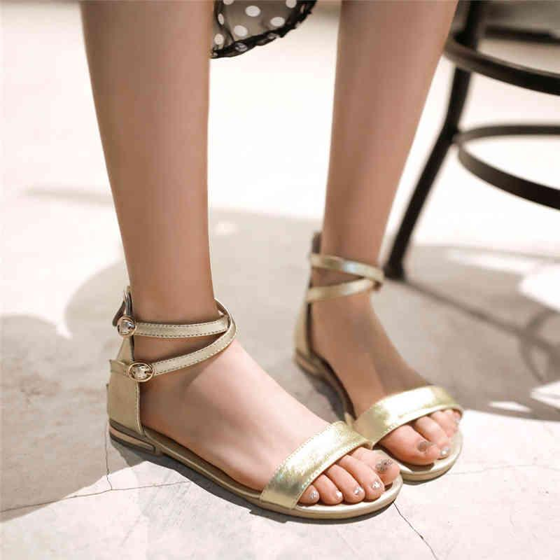 Summer Women's Sandals Genuine Leather Gold Flats Casual Beach Shoes White Gladiator Flip Flops Female Footwear 210521