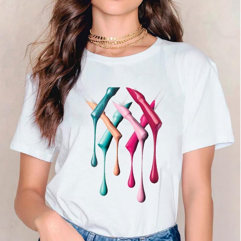 Frauen 2021 3D Aquarell Malerei Mode Gedruckt Tshirts T-Kleidung Hemd Womens Damen Stilvolle T-Shirt T-Shirt Kleidung Frauen